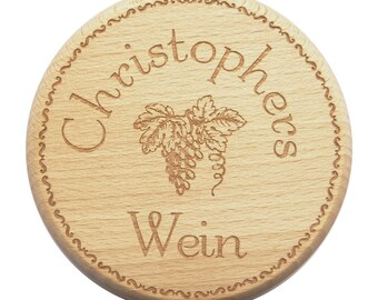 Wine Glass lid engraving wish name wine glass-wine glass lid-Beech-engrave-Text of your choice