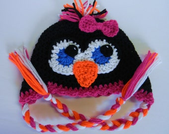 Crochet Penguin Hat - Made To Order - Any Size And Color Combination