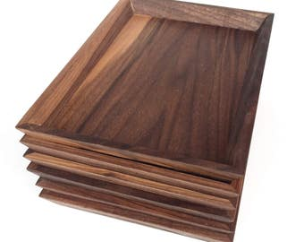 two walnut wood valet serving trays