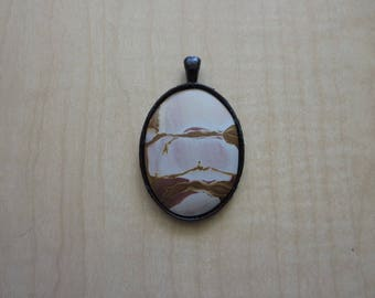 "1228 - Hand-crafted 2"" x 1 1/4""  Black Bezel Setting With Brown and Pale Pink Natural Rhyolite"