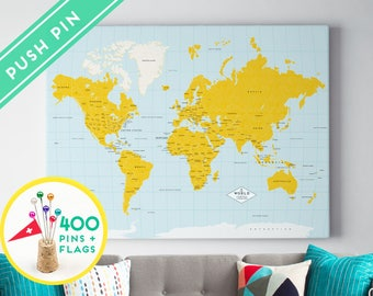 Personalized World Map CANVAS Yellow and Blue colors - Gift Idea Pin It Map - 240 Pins + 198 World Flag Sticker Pack Included