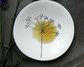 OOAK Flower Porcelain Jewelry Dish with Recycled Glass - set of 2