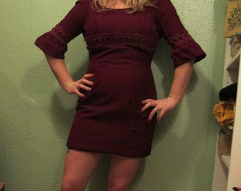 1960s Burgundy Mini Dress with min bell sleeves sz M