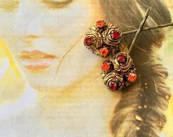 Decorative Hair Pins 1930 1940 Renaissance Bridal Wedding Red Orange AB Rhinestone Filigree Hairpins Bobby Pins
