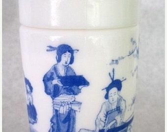 ON SALE Vintage Milk Glass Coverd Jar With Blue Asian Scene Made in Belgium, Shabby Chic, Cottage Chic, Storage, Home Decor