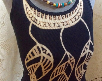 Boho Up Cycled Hand Drawn Feather Tank Top Size L