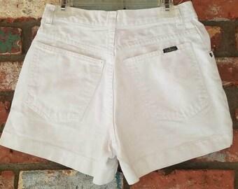 White High Waisted Bonjour Denim Jean Shorts high waisted shorts vintage 90s 1990s daisy dukes women medium