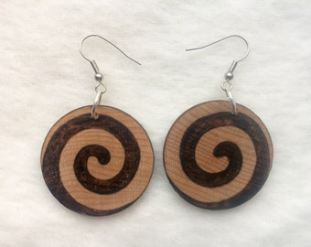 Woodburned Earrings  ~ Spirals ~ Round Drop Dangle Earrings ~MADE TO ORDER