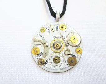 Vintage ELGIN Pocket Watch DIAL White Face Brass GEAR Silver Wheel Two Tone Pendant Black Suede Steampunk Necklace Handmade by DKsSteampunk