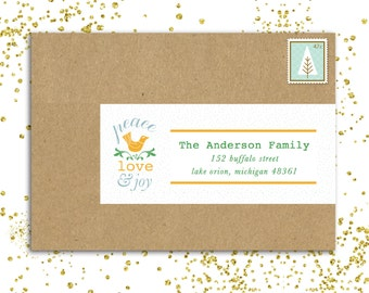 25 PRINTED Custom Address Labels- Christmas - dove, peace, blue, yellow, joy, love, traditional, christmas,dots, bird, Seasonal, Easy Labels