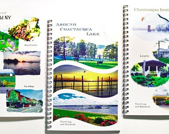 Set of 3 special price - Vacation Journals each book with 4 postcards - travel pack - photography - description pages - map -