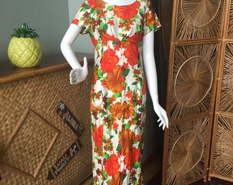 Gorgeous Sun Fashions of Hawaii soft 100% cotton  cotton muu muu  / maxi dress