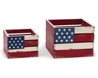 2 Rustic Planters, 4th July Picnic Planters, Flower Planters, 4th of July Planters, Wood Crate Flower Planters, Floral Containers