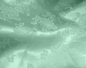 Brocade Jacquard Satin Mint 60 Inch Fabric by the Yard - 1 yard