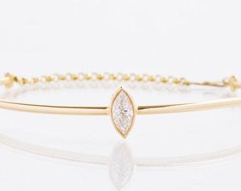 Diamond Bangle - 14k Yellow Gold Marquise Diamond Bangle Bracelet