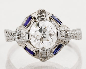 Antique Engagement Ring - Antique 18k White Gold Diamond & Sapphire Engagement Ring