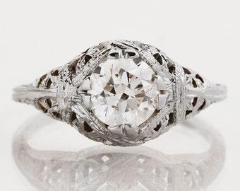 Antique Engagement Ring - Antique Art Nouveau 18k White Gold Diamond Engagement Ring