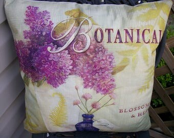 French Botanicals Lilac Pillow Cover, 18 x 18  Pillow Cover, Blossoms and Herbs Jardin French Chic  Farmhouse Home Decor