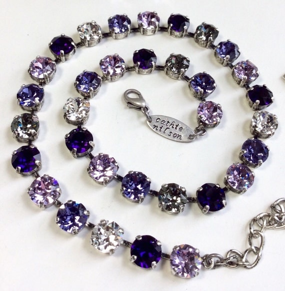 """Swarovski Crystal 8.5mm Necklace   Beautiful -  """"Purple Passions"""" - Designer Inspired - FREE SHIPPING"""