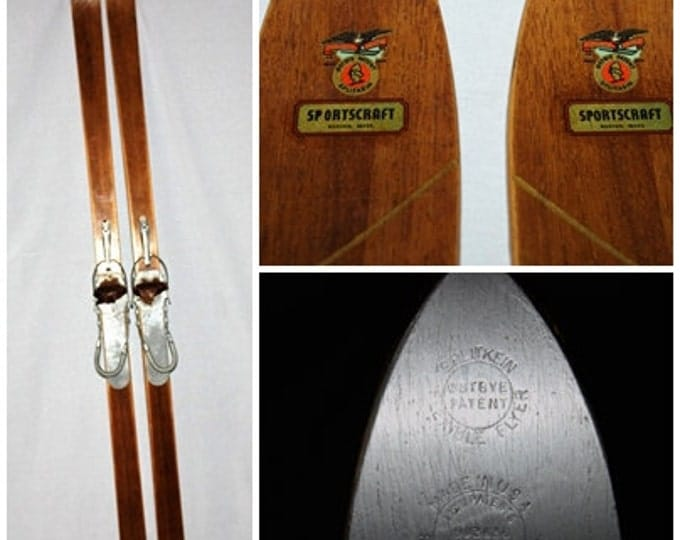 Vintage 1940s Sportscraft Flexible Flyer Splitkein Design Wood Snow Skis,  Splitkein Osteye Patent Flexible Flyer Skis