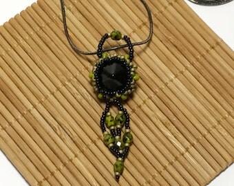 Beadwork Pendant Black Beaded Pendant Seed Bead Pendant Beaded Pendant Bead Woven Necklace Beadwoven Pendant Pendant Necklace Black Pendant