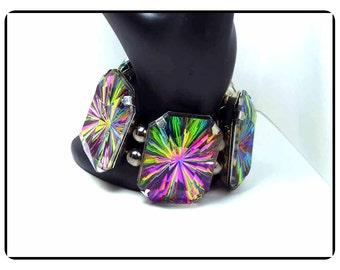 Bold Retro Modernist Bracelet - Colors of the Rainbow - Chunky Stretch Vintage Bracelet  - Brac-8010a-021917002