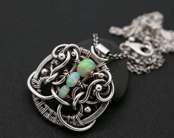 Opal pendant - Wire wrapped opal - Pendant with Ehtiopian opal - Opal necklace - Opal with flash