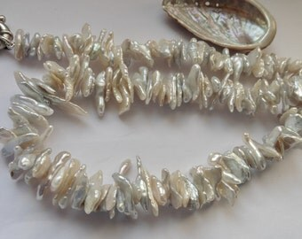 Pearl Necklace silver grey white keshi pearls Collier