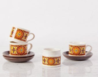 Mid Century Teacup Set / Sadler Tea Cup set / Boho tea Set / Tea Cups and Saucer Set / Midcentury Retro Pottery Set / Mismatched Tea Cups