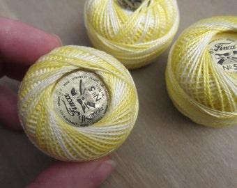 Size 5 Presencia Finca, Perle Cotton, Variegated Lemon Meringue, #9025, Cotton Thread - 10g Balls & Multi-Packs are Available