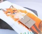 Fox Watercolor Tea Towel