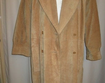 vintage, circa 8os Yves Saint Laurent Fourrures natural  chamois suede double breasted coat US size M fully fur lined