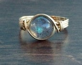Valentines Day Sale Labradorite Wire Wrapped Ring, Labradorite Gemstone Ring, 14k Gold Filled Ring, Any Size
