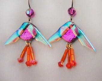 Gleaming Iridescent Fused Glass Fuchsia Flower Earrings