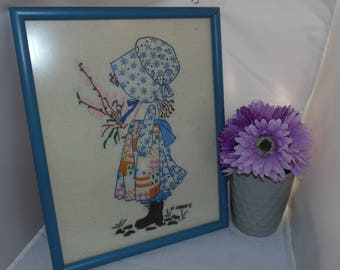 Vintage 1980 Hand Embroidered TIME To BE HAPPY~Holly Hobbie~Finished & Framed Picture