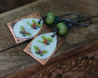 Rustic Wild Life Artisan earrings n153 . primitive jewelry . butterfly tin jewelry . sale promotion . artisan jewelry . rustic jewelry