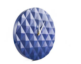 Trendy Wall Diamond pattern round clock // Retro Mod Geometry pattern // Cool Glossy Dark blue // diamond 3d pattern // Free shipping