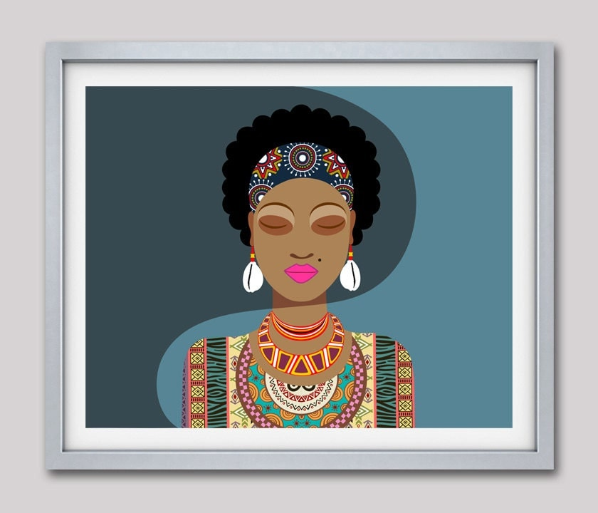 African woman black woman painting african queen for African mural painting
