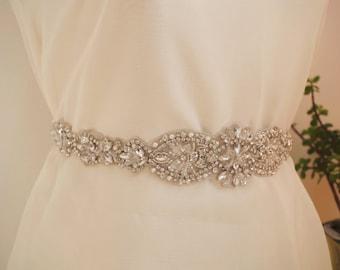 rhinestone sash applique, crystal applique for wedding sash, rhinestone bridal sash belt trim, craft bridal sash supplies