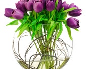 Real Touch Tulip Arrangement with Purple Tulip Flowers Artificial Faux in Half Moon Glass Vase for Home Decor and Centerpiece