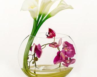 Unique Design Large Real Touch Elegant White Calla Lilies Purple Orchids Half Moon Glass Vase Artificial Faux Arrangement