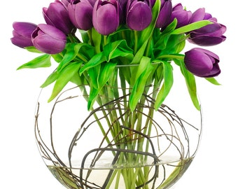 Back order on October - Large Real Touch Purple Tulip Artificial Faux in Half Moon Glass Vase for Home Decor and Centerpiece