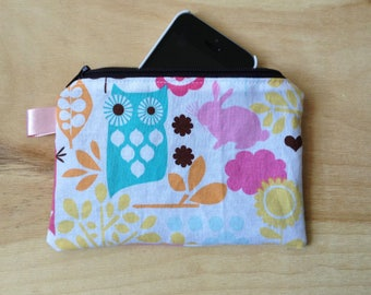 Woodland Zippered Pouch - Coin Pouch - Colorful - Cute Coin Purse - Phone Pouch, Owls, Forest Animals, Bunnies, Flowers, Plants, iPhone Case
