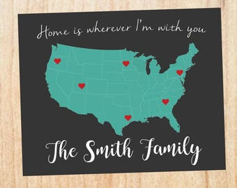 Mother's Day Family print. PRINTABLE home is wherever i'm with you. long distance family. parents gift grandparents. mothers day gift