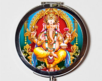 Ganesh Ganesha Compact Mirror - Elephant God Hindu Hinduism Spiritual - Make Up Pocket Mirror for Cosmetics