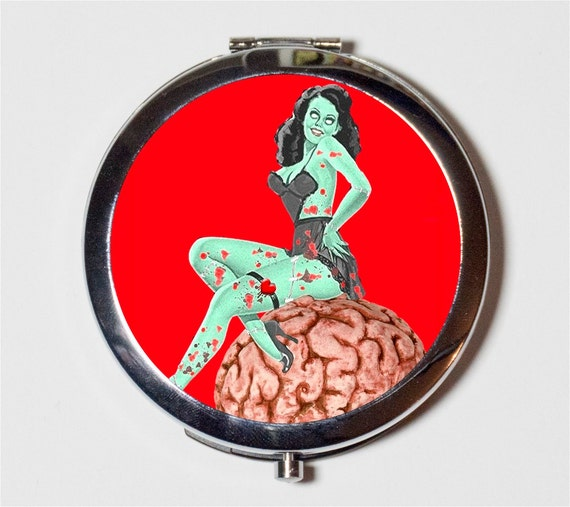 Zombie pin up compact mirror brain pinup rockabilly for Mirror zombie girl