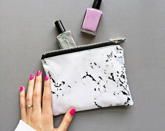Mini marbled make up zipper pouch - marbled, minimal marble, marbled design, marble print, marble bag, marbled make up bag