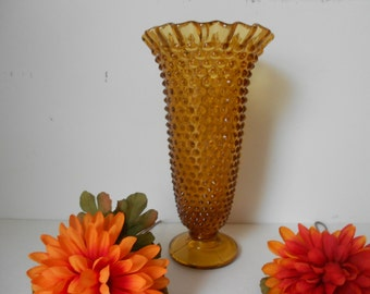 Amber hobnail vase, tall glass with fluted edge at brim