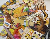 Collage kit, color coordinated, yellow, art kit, paper goodies, clippings, journaling, scrapbooking