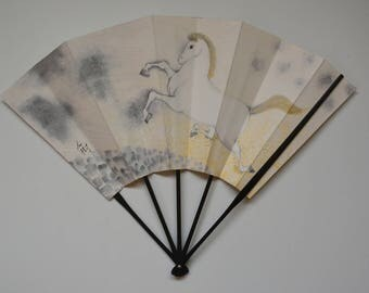 Decorative fan, bamboo and paper card, Japanese 'ohgi' sensu, made in Kyoto #6